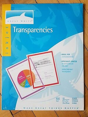 """Inkjet Transparencies Package Of 10 New 8.5X11"""""""