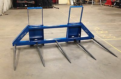 5 Bale Spears W/quick Attach Plate For Skid Steer Loaders