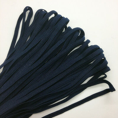 """5yds 1/4"""" 6mm Navy blue Thickening Satin Elastic Band Trim Sewing Spandex Lace"""