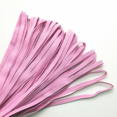 """5yds 1/4"""" 6mm Pink Thickening Satin Elastic Band Trim Sewing Spandex Lace"""
