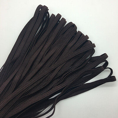 """5yds 1/4"""" 6mm Deep brown Thickening Satin Elastic Band Trim Sewing Spandex Lace"""