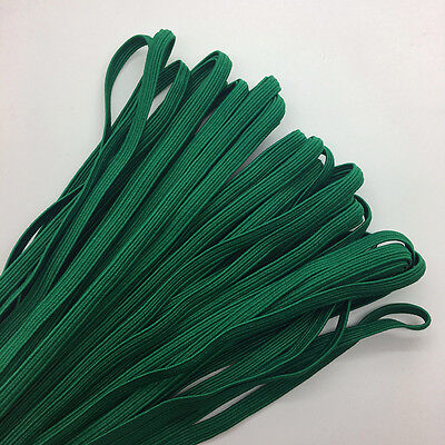 """5yds 1/4"""" 6mm Deep Green Thickening Satin Elastic Band Trim Sewing Spandex Lace"""