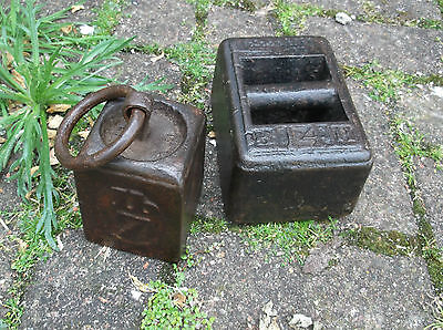 2 Antique Weights Cast Iron14 Lbs 7Lbs With Ring