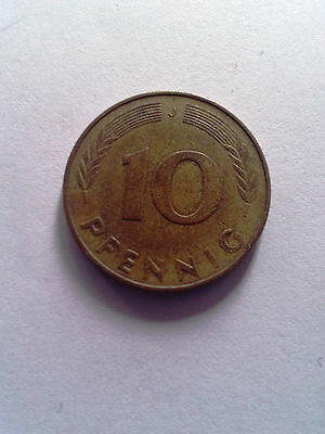 10 pfenning 1971 Germany coin free shipping