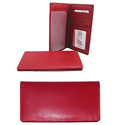ili RFID Leather Checkbook with Pen Holder Red