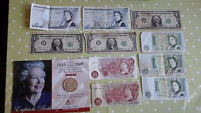 Collection Of Banknotes  £5 Notes £1 Notes Ten Shillings And More