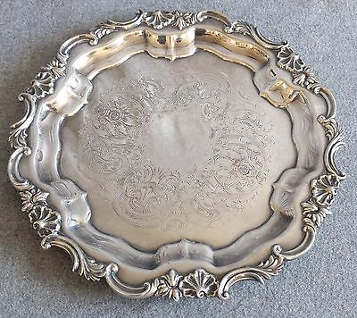 Silver Plate Drinks Tray Salver Old Sheffield Plate 10 inch diameter