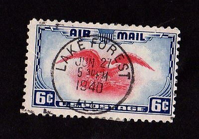 Stamp ~ Air Mail LAKE FOREST Postmark UNITED STATES OF AMERICA USA ~ 1940