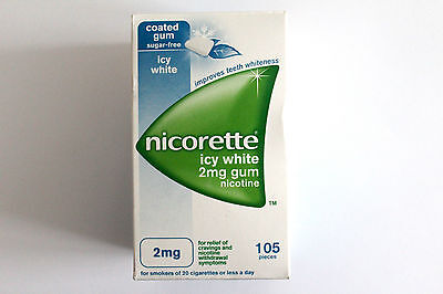 Nicorette Icy White Flavour 2mg Sugar-Free Coated Gum Nicotine - 105 Pieces