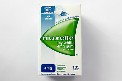 Nicorette Icy White 4mg Sugar-Free Coated Gum Nicotine - 105 Pieces