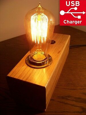 Industrial Vintage Retro Wooden Table Desk Lamp Edison Light Bulb 2x usb charger