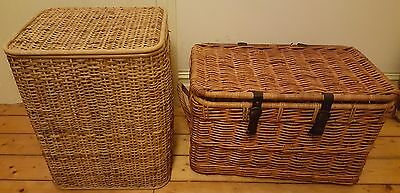 2 x Cane Wicker Storage Basket Laundry Clothes Hamper Tidy