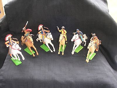 Vintage Britains Deetail 6 Mounted Cowboys, Indians, And Mexicans