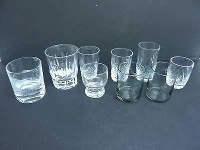 Mixed Lot of 9 Cut Glass / Crystal or Etched Glasses