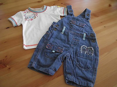 shortleg dungarees and teeshirt 3-6 mths