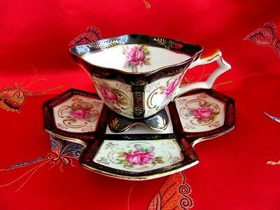 Vintage Royal Sealy China 4 Footed Teacup Unique Square Black Cup And Saucer