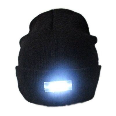 4-LED Light Cap Knit Beanie Hat with 2 Batteries Outdoor Hunting Camping Fishing