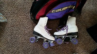Vintage Pacer Womens White Leather Roller Skates Pacer Skate Plates Wheels Sz.4