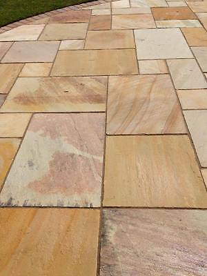 Fossil Mint Indian Sandstone Paving Slabs Calibrated Patio Slabs (19m2 Pack)