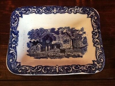 BLue & White 'Shredded Wheat'/ Butter / Soap Vintage dish