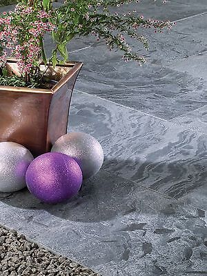 Textured Moonlight Slate Paving Slabs 20mm Calibrated Garden Patio Slabs 15.3m2