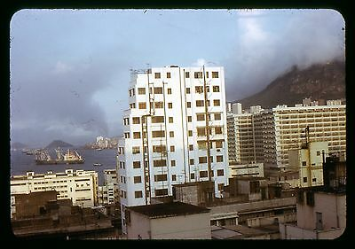 Original 35mm photo slide 1972 Hong Kong Street scene Apt buildings
