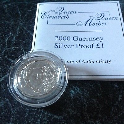 Guernsey Queen Mothers 100Th Birthday Silver Proof £1 Certified