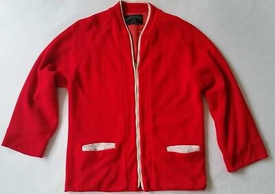 Vintage S 1950S Dartmouth Sportswear Red Varsity College Lined Sweater Jacket
