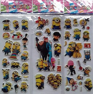 NEW-3pcs /Sheets DESPICABLE 2 PVC Puffy Stickers.