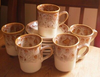 5 Fosters Pottery Honeycomb Mugs & 6 Saucers