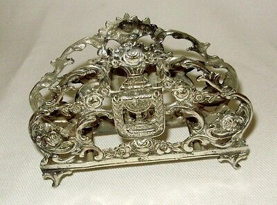 Judaica Intricate Repousse 800 Silver Footed Letter Holder- Gorgeous-Israel