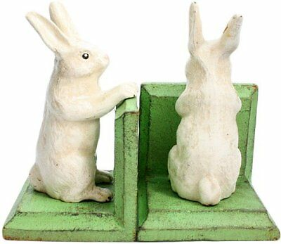 HomArt Cast Iron Bunny Bookends, White, Set of 2
