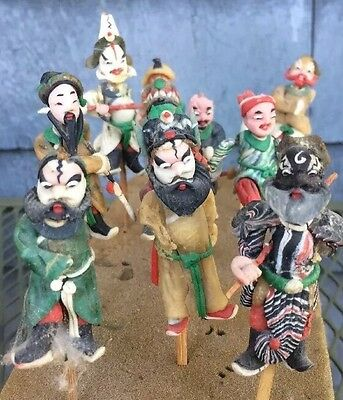 10 RARE ANTIQUE ? VINTAGE Clay Asian Oriental Chinese Japanese Mud Man Figure