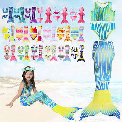 Children Kids Girls Mermaid Tail Swimmable Bikini Set Swimwear Summer Costume