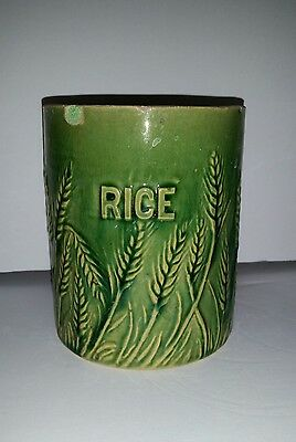 Antique Hull Green Glazed YELLOW WARE RICE CANISTER