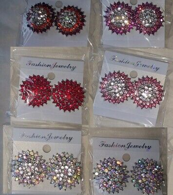 Joblot 12 Pairs Mixed color 2.8 cm Diamante clip on Earrings - new Wholesale