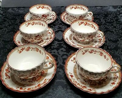 LOT of 6 COPELAND SPODE India Tree Footed Cup & Saucer Plate Sets OLD MARK Rust