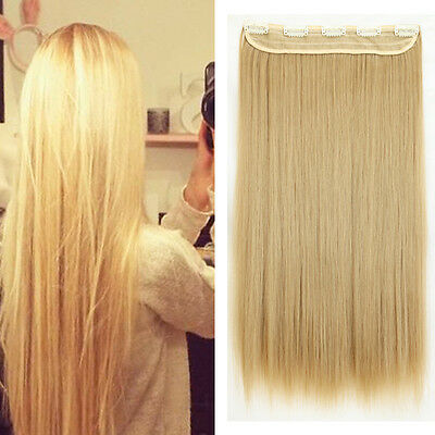 Thick Long Blonde Straight Clip in Hair Extension One Piece Half Full Head rc3