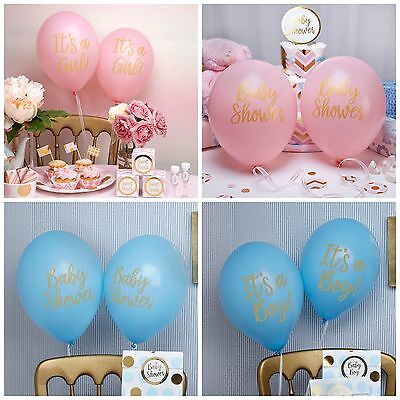 Pink or Blue Baby Shower, Girl or Boy Party Balloons - pack of 8