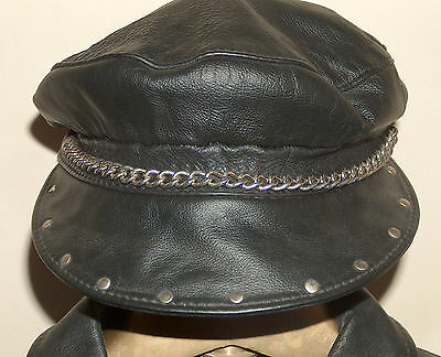 HARLEY DAVIDSON LEATHER Vtg Captains Ivy Cabbie Cap Hat w Studs & Chain OS USA