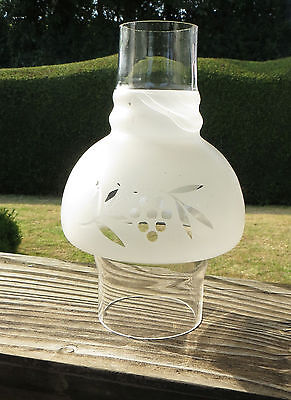 """Etched Hooded Glass Oil Lamp Chimney 77mm Approx 3"""" fitter - Mushroom Shaped"""