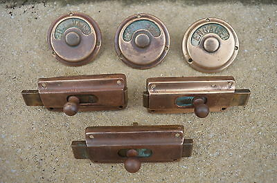 3 Vintage Vacant - Engaged Toilet Locks 1900s Brass 100% Original