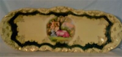Antique Victoria Austria Ivory & Green Hand painted Oblong tray/celery dish