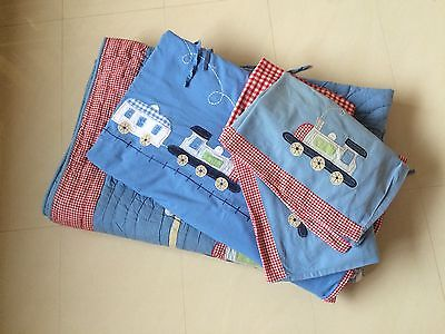 Laura Ashley Boys Quilted Appliqued Bed Spread / Throw And Two Duvet Sets Train