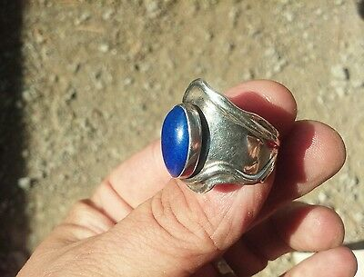 Very Vintage Wide Band Sterling Silver Blue Lapis Ring Size 7