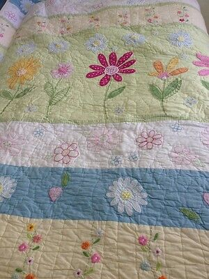 "Pottery Barn Kids Daisy Garden Quilted Bedding Pink Twin 68""x86"" Flowers"