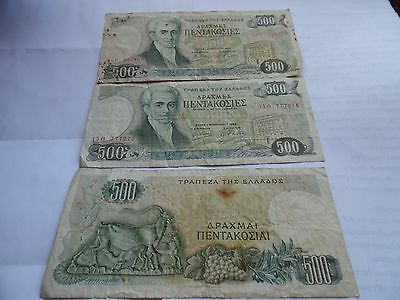 THREE Greece 500 Drachma Banknotes -  Used  -
