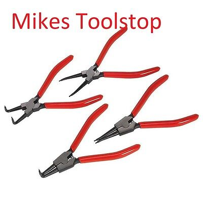 "4pc 7"" Circlip Snap Ring Plier Set  Internal External Straight 90° Tip Steel"