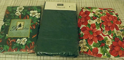 3/ Holiday Christmas Tablecloths - Green, multi-color Poinsettias, Vinyl Round