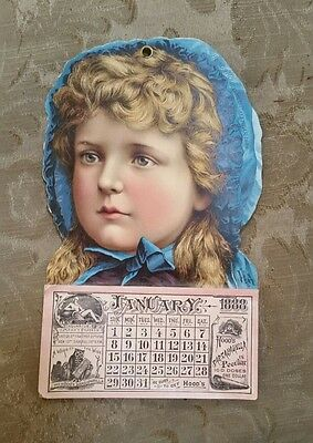 Antique 1888 HOOD'S SARSAPARILLA CALENDAR Girl Blue Bonnet, Lowell MA